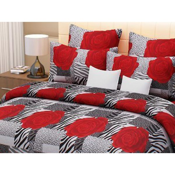 Double Bedsheet - Casa Basics - Black & Red
