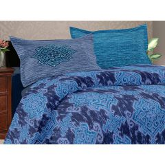 Double Bedsheet Solitaire Jazzy Art - Block Blue