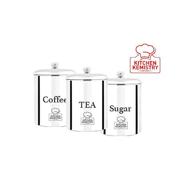 Kitchen Kemistry Tea, Coffee & Sugar Economic Canister/Kitchen Storage with Capacity of 1000 ml. Pack of 3 Piece