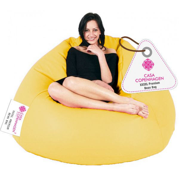 Casa Copenhagen Premium Bean Bag with Beans-Yellow-XXXXL