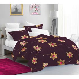 Casa Copenhagen Aurora King Size Bedsheet with 2 Pillow Cover - Floral Brown