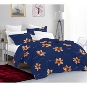 Casa Copenhagen Aurora King Size Bedsheet with 2 Pillow Cover - Floral Blue