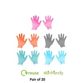 Casa Copenhagen 20 Pair  Cotton Protective Gloves -  Latex Free, Powder Free, Textured, Comfortable  - Multi Color