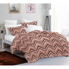 Casa Copenhagen Ember Queen Size Bedsheet with 2 Pillow Covers - Arrow, Brown