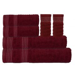 Elegance Towel Set - 6 Pcs-Cabernet Red