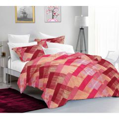 Casa Copenhagen Ember Queen Size Bedsheet with 2 Pillow Covers - Gredient square, Pink