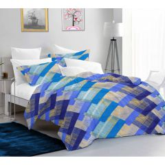 Casa Copenhagen Ember Queen Size Bedsheet with 2 Pillow Covers - Gredient square, Blue