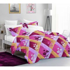 Casa Copenhagen Ember Queen Size Bedsheet with 2 Pillow Covers - Gredient square, Purple