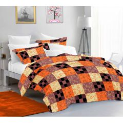 Casa Copenhagen Sicily King Size Bedsheet with 2 Pillow Covers - Orange/Peach/Black