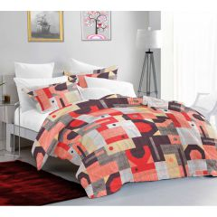 Casa Copenhagen Exotic Queen Plus Size Bedsheet with 2 Pillow Covers - Pink/Red/White/Brown