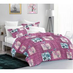 Casa Copenhagen Exotic Queen Plus Size Bedsheet with 2 Pillow Covers - Floral Light Pink/Blue