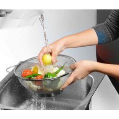 Premium Strainer Colander Basket Stainless Steel - Set of 2 pcs - Silver