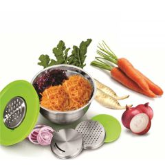 Stainless Steel 24CM German Grater Bowl with Lid, 3 Interchangeable Graters