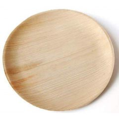 "Premium Organic Palm Leaf Disposable Eco Friendly Party Essential Round Plate 6.75"" - Pack of 25 Pcs"