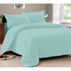 Double Bedsheet Solitaire Square Art - Pista Green