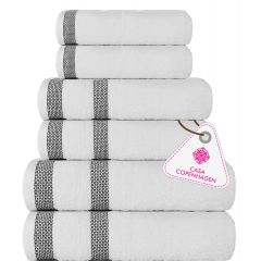 CASA COPENHAGEN Solitaire Towel Set -Bright White